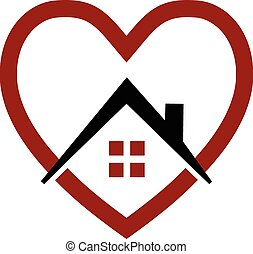 coeur, maison, vecteur, logo