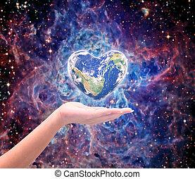 coeur, meublé, sur, brouillé, forme, humain, cyan, bleu, jour, sky:, santé, image, concept:, csr, turquoise, fond, mains, mondiale, femmes, naturel, ceci, arbre, élément, nasa