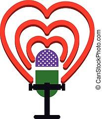 coeur, microphone, vieux, autour de, style, vagues