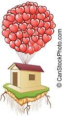 coeur, mignon, maison, voler, ballons, rouges