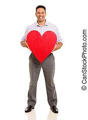 coeur, milieu, tenue, vieilli, rouges, homme