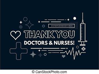coeur, mince, seringue, géométrique, médecins, remerciement, style, lignes, arrière-plan., nurses., cardiogramme, vecteur, illustration