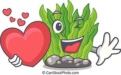 coeur, miniature, vert, algue, au-dessus, table, mascotte