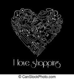 coeur, mode, articles, main, dessiné, élégant