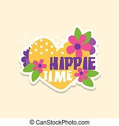 coeur, mode, hippie, mignon, texte, autocollant, temps, illustration, créatif, fleurs, clair, vecteur, pièce, couleurs, écusson, dessin animé, style