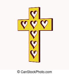 coeur, mon, croix