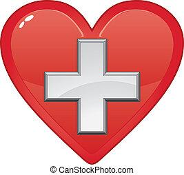coeur, monde médical, premier, symbole, aide