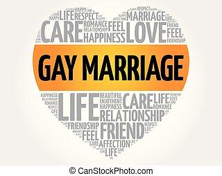 coeur, mot, gay, concept, mariage, nuage