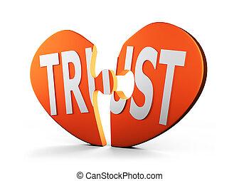 coeur, mot, illustration., formé, puzzle, confiance, 3d