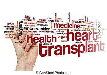 coeur, mot, nuage, transplantation