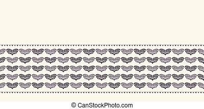 coeur, motif, or, washi, emballer, amour, frontière, hiver, pattern., seamless, arrière-plan., bande, dessiné, noël, fête, main, stylisé, mariage, fetes, bannière, ribbon., illustration., cadeau, vecteur, feuillage vert