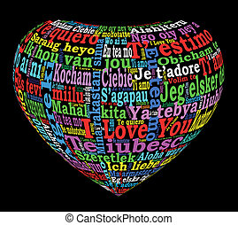 coeur, multilingue, coloré, 3d