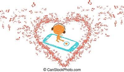 coeur, musique, âme, mon