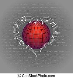 coeur, musique, aimer, autour de, mondiale
