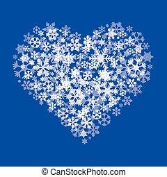 coeur, neige blanche