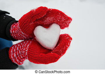coeur, neige, gants, femme, blanc, prise, rouges