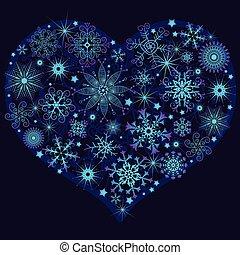 coeur, noël, neige