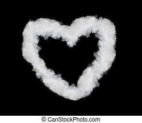 coeur, noir, isolé, fumée, formé