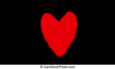 coeur, noir, isolé, rouges