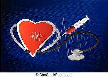 coeur, normal, symbole, ligne, stéthoscope, électrocardiogramme