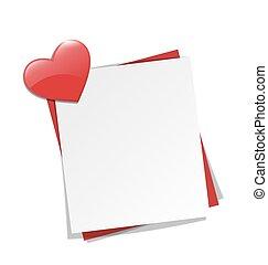 coeur, note, amour, mur, isolé, aimant, papier, blanc rouge