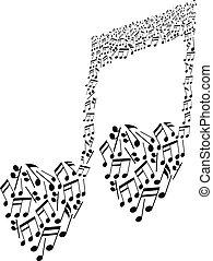 coeur, notes, modèle, forme, musical