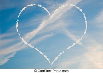 coeur, nuage blanc