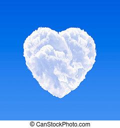 coeur, nuage, formé