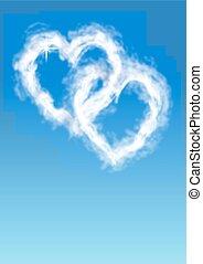 coeur, nuages, formé