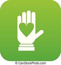 coeur, numérique, vert, icône, main