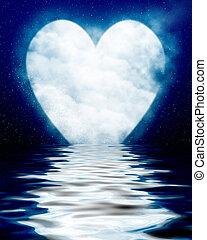 coeur, océan, reflété, lune, formé