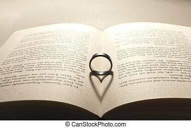 coeur, ombre, livre, ouvert
