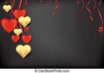 coeur, or, arrière-plan noir, rubans, rouges