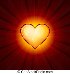 coeur, or, arrière-plan rouge