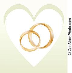 coeur, or, formé, anneaux, vecteur, mariage, carte