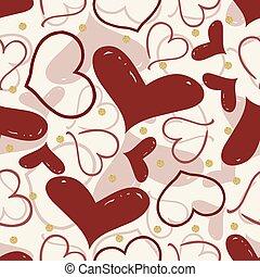 coeur, or, modèle, seamless, point, fond, scintillement, rouges