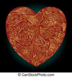 coeur, or, motifs, indien, arrière-plan noir, rouges