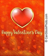 coeur, or, valentines, -, valentin, jour, fond, carte, heureux