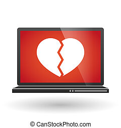 coeur, ordinateur portable