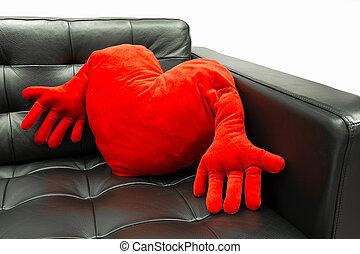coeur, oreiller rouge, formé