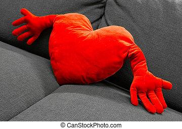 coeur, oreiller, rouges, formé