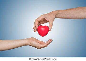 coeur, orgue, donner, concept., main, donation, rouges, ...