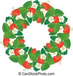coeur, ornement, formes, fraises, cercle, fleurs
