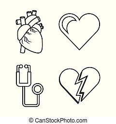 coeur, outillage, ensemble, stéthoscope, conditions