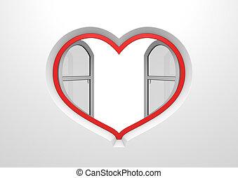 coeur, ouvert, copyspace, soleil, intérieur, fenêtre, abat-jour