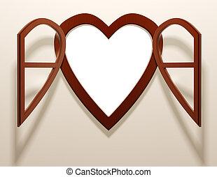 coeur, ouvert, fenêtre., formé