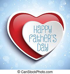 coeur, pères, fond, jour, rouges, heureux