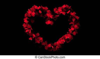 coeur, pétales, canal alpha, rose