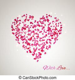 coeur, pétales, rose, doux