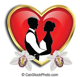 coeur, palefrenier, rouges, mariée